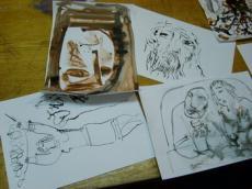 Тушь: рисование с помощью заточенной палочки и куска бумаги