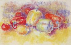 Лимон, перец и помидоры (пастель).