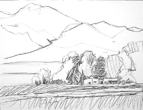 Нарисовать пейзаж осени карандашом
