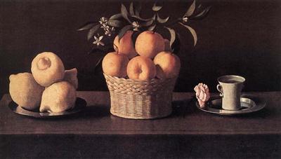 Ф. Сурбаран. «Лимоны, апельсины и розы». 1633. Флоренция, собрание А. Контини-Бонакосси