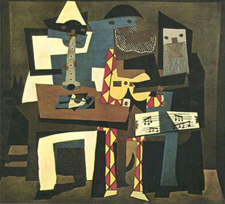 432. Пабло Пикассо. Три музыканта. Лето 1921 г. Холст, масло. 2 х 2,23 м. Музей современного искусства, Нью-Йорк. Дар Фонда миссис Саймон Гуггенхейм