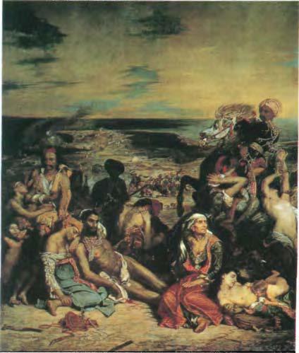 342. Эжен Делакруа. «Резня на Хиосе». 1822-24 г. Холст, масло. 4,22 х 3,53 м. Лувр. Париж