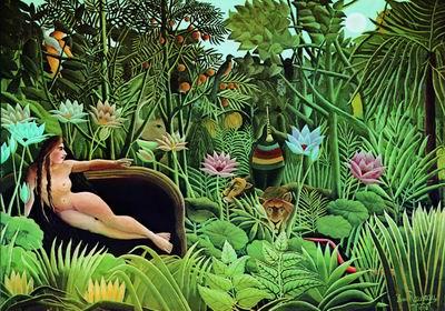 403. Анри Руссо. «Сон». 1910 г. Холст, масло. 2,05 х 2,99 м. Музей современногоискусства. Нью-Йорк. Собрание. Дар Нельсона А. Рокфеллера