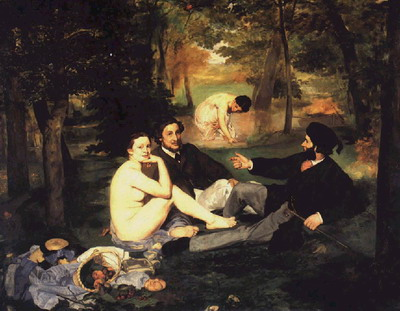 368. Эдуард Мане. «Завтрак на траве» (Le Dejenner sur I'herbe) 1863 г. Холст, масло. 2,13 х 2,64 м. Музей д'Орсэ. Париж
